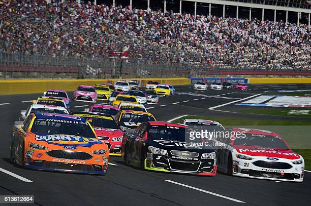 Ricky Stenhouse Jr driver of the SunnyD Ford Kasey Kahne driver of the Great Clips Chevrolet and Ryan Blaney driver of the Motorcraft/Quick Lane Tire...