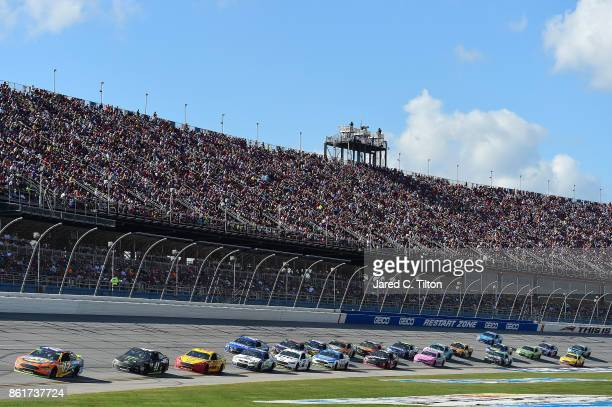 Ricky Stenhouse Jr driver of the SunnyD Ford leads a pack of cars during the Monster Energy NASCAR Cup Series Alabama 500 at Talladega Superspeedway...