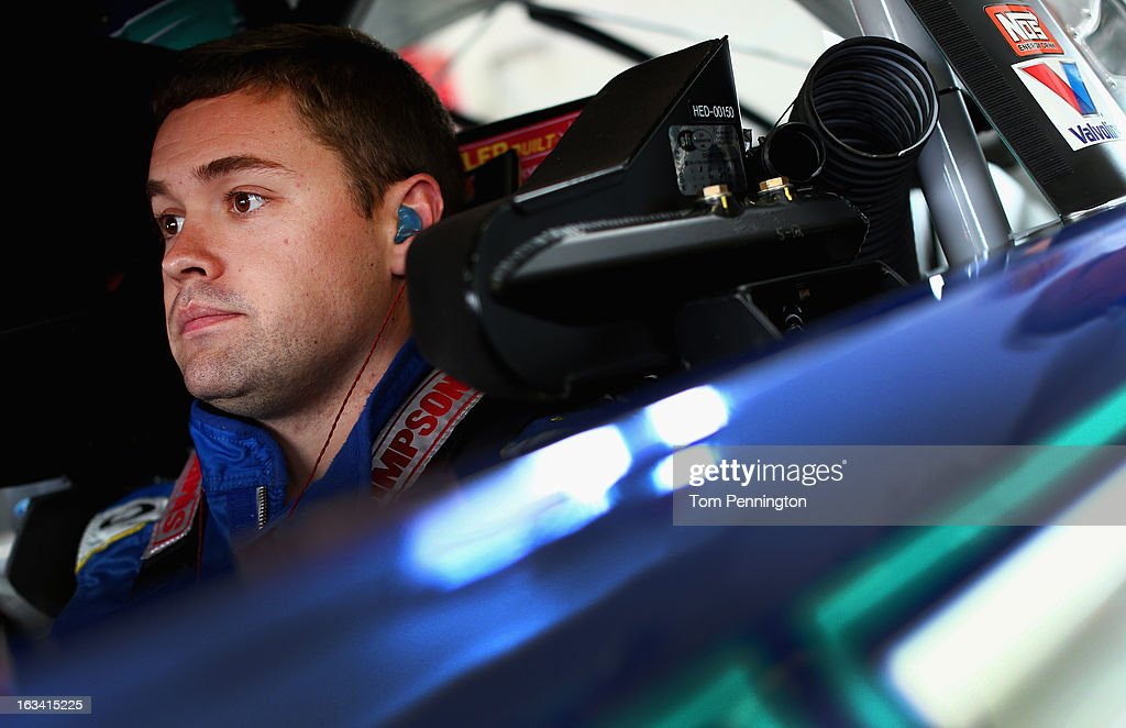 <a gi-track='captionPersonalityLinkClicked' href=/galleries/search?phrase=Ricky+Stenhouse+Jr.&family=editorial&specificpeople=5380612 ng-click='$event.stopPropagation()'>Ricky Stenhouse Jr.</a>, driver of the #17 Zest Ford, sits in his car in the garage area during practice for the NASCAR Sprint Cup Series Kobalt Tools 400 at Las Vegas Motor Speedway on March 9, 2013 in Las Vegas, Nevada.