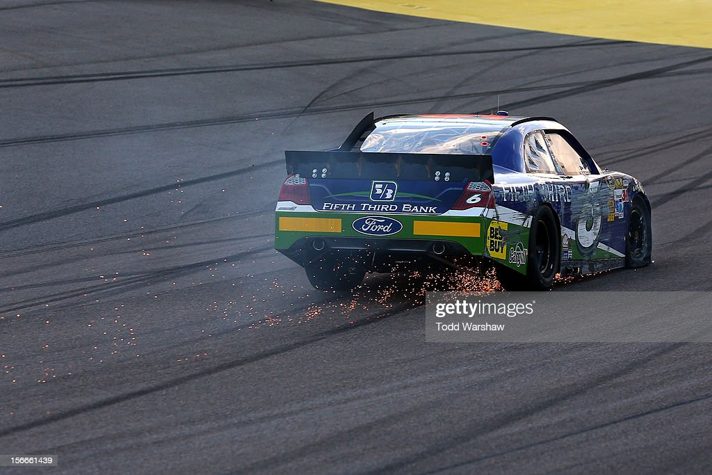 Ricky Stenhouse Jr. drives the wrecked #6 Fifth Third Bank Ford after an incident during the NASCAR Sprint Cup Series Ford EcoBoost 400 at Homestead-Miami Speedway on November 18, 2012 in Homestead, Florida.