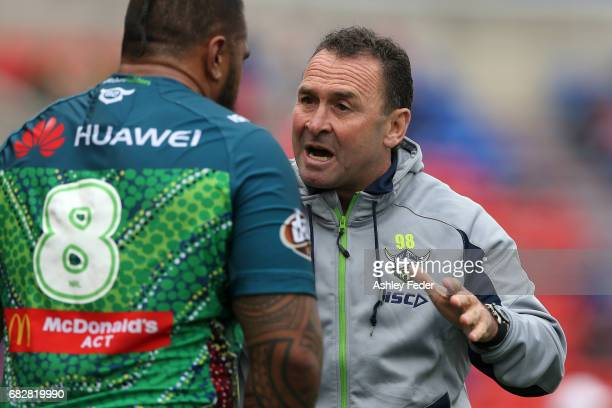 Ricky Stewart coach of the Raiders talks to his team during the round 10 NRL match between the Newcastle Knights and the Canberra Raiders at McDonald...
