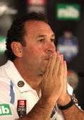 Ricky Stuart coach of the Blues speaks to the media during the NSW Blues State of Origin 2012 team announcement at Rugby League Central on May 13...