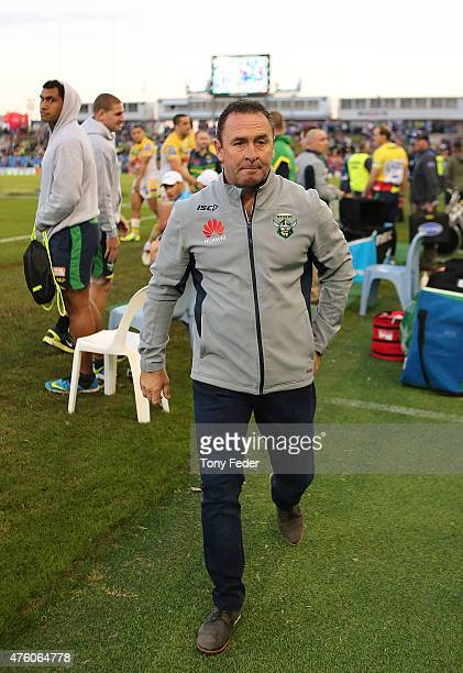 Ricky Stuart coach of the Raiders during the round 13 NRL match between the Newcastle Knights and Canberra Raiders at Hunter Stadium on June 6 2015...