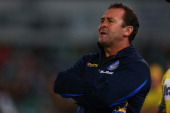 Ricky Stuart of the Broncos calls instructions from the bench during the round nine NRL match between the Parramatta Eels and the Brisbane Broncos at...