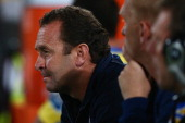 Ricky Stuart of the Broncos watches on from the bench during the round nine NRL match between the Parramatta Eels and the Brisbane Broncos at...