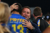 Ricky Stuart of the Eels celebrates victory with Peni Terepo of the Eels during the round nine NRL match between the Parramatta Eels and the Brisbane...