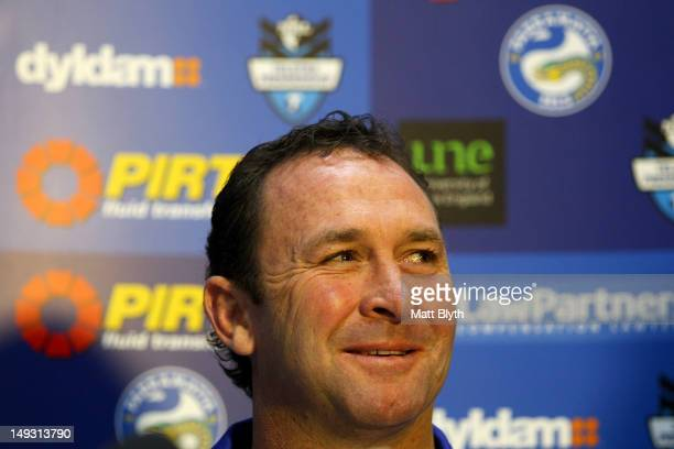 Ricky Stuart speaks at a press conference to announce his new role as coach of the Parramatta Eels NRL team at Parramatta Stadium on July 27 2012 in...
