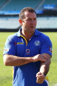 Ricky Stuart speaks to media after announcing his new role as coach of the Parramatta Eels NRL team at Parramatta Stadium on July 27 2012 in Sydney...