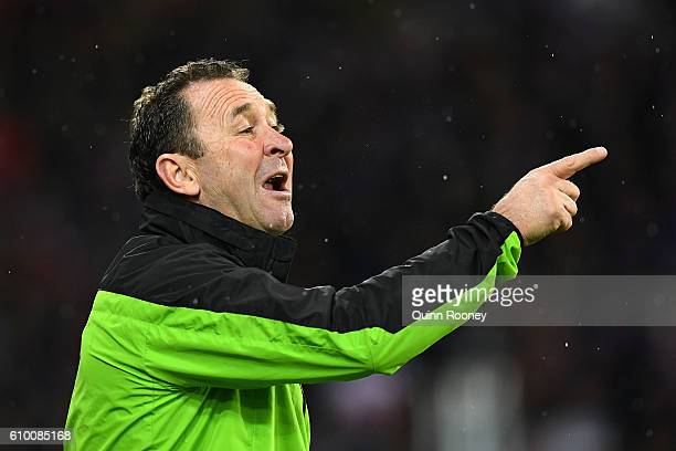 Ricky Stuart the coach of the Raiders gives instructions during the NRL Preliminary Final match between the Melbourne Storm and the Canberra Raiders...