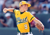 Ricky Tibbet of the West team from Chula Vista Ca pitches to a Tokyo Japan batter during the fourth inning of the Little League World Series...
