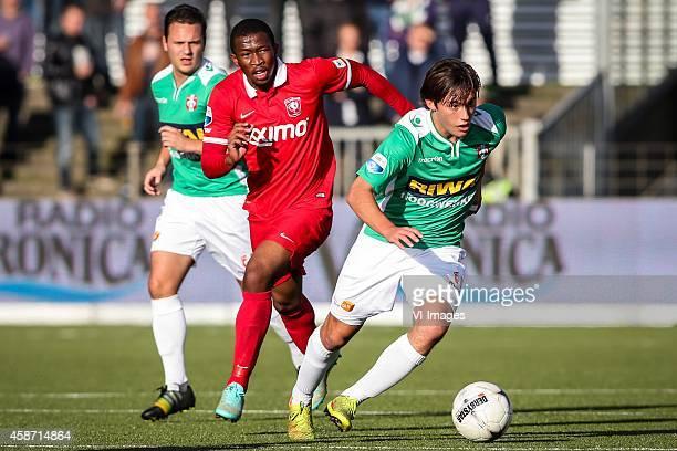 Ricky van Haaren of Fc Dordrecht Kamohelo Mokotjo of Fc Twente Joris van Overeem of Fc Dordrecht during the Dutch Eredivisie match between FC...