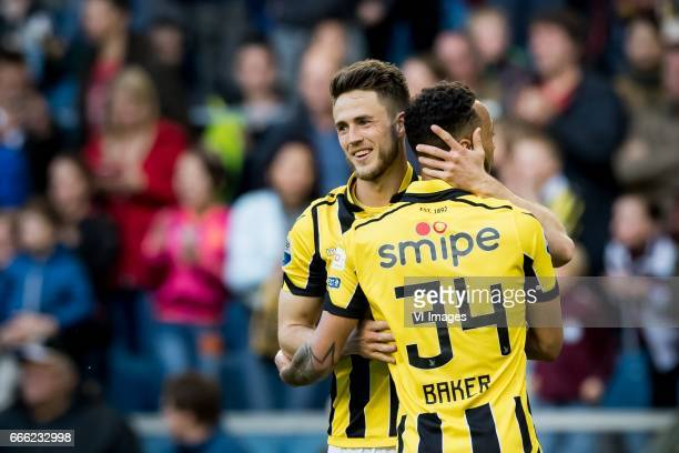 Ricky van Wolfswinkel of Vitesse Lewis Baker of Vitesseduring the Dutch Eredivisie match between Vitesse Arnhem and sc Heerenveen at Gelredome on...