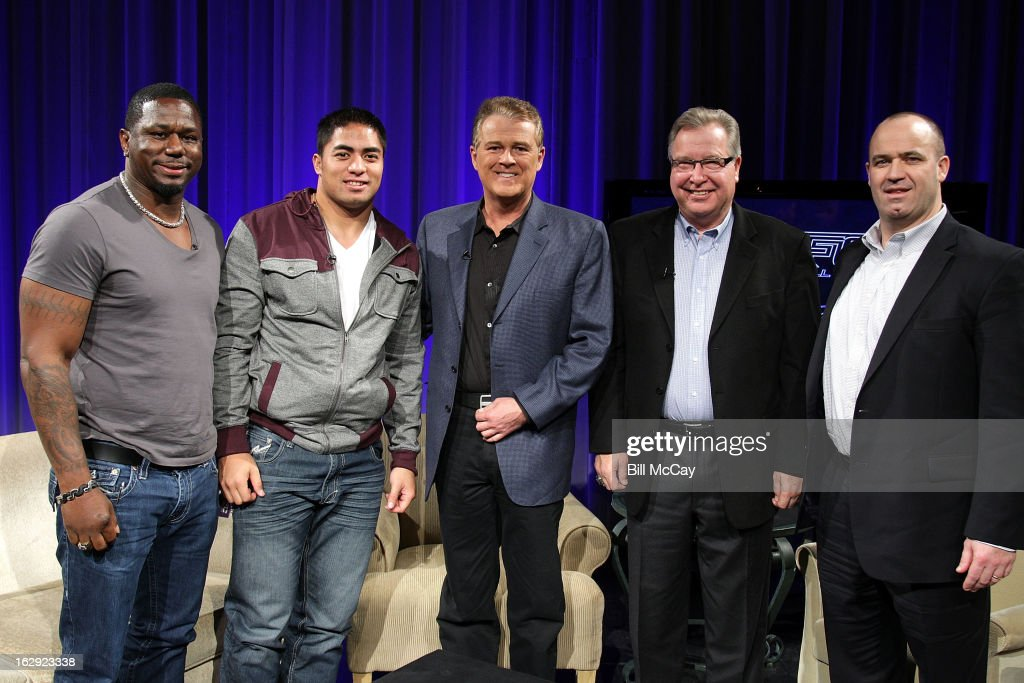 Ricky Watters, Manti Te'o, Lou Tilley, Ron Jaworski and Bill O'Brien attend the Stars of Maxwell Football Club Discussion Table on March 1, 2013 in Atlantic City, New Jersey.
