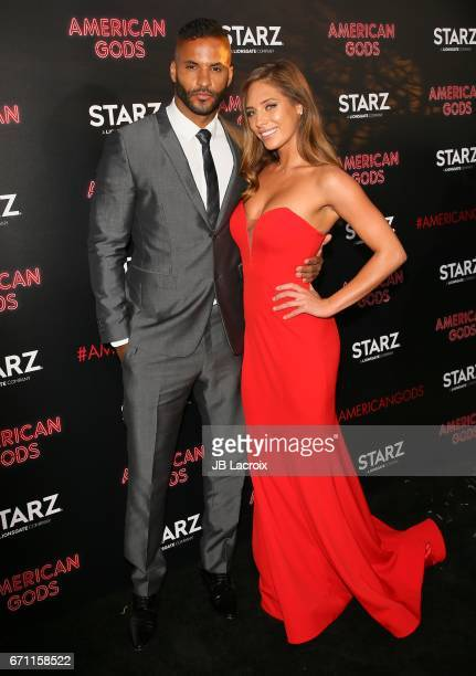 Ricky Whittle and Kristina Colonna attend the premiere Of Starz's 'American Gods' on April 20 2017 in Hollywood California