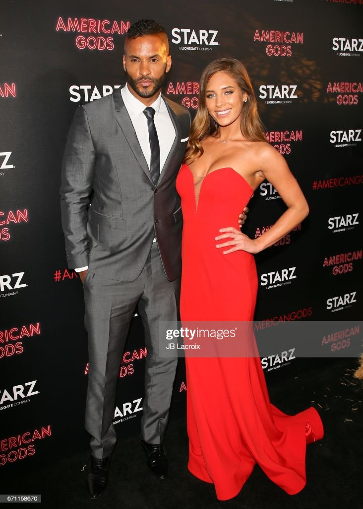 Ricky Whittle and Kristina Colonna attend the premiere Of Starz's 'American Gods' on April 20, 2017 in Hollywood, California.