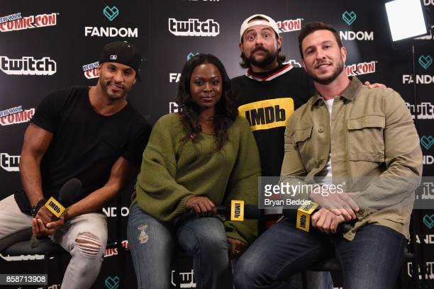 Ricky Whittle Yetide Badaki and Pablo Schreiber of American Gods pose with Kevin Smith onstage during IMDb LIVE at NY ComicCon at Javits Center on...
