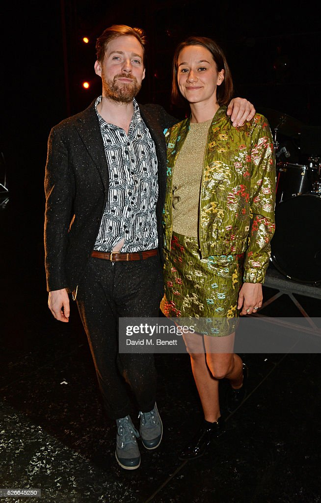 Ricky Wilson (L) and Grace Zito pose backstage following a performance of 'Jersey Boys' at The Piccadilly Theatre on April 30, 2016 in London, England.