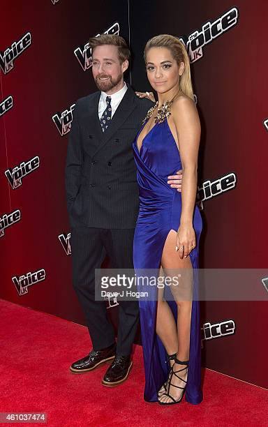 Ricky Wilson and Rita Ora attend the launch of 'The Voice UK' Series 4 at The Mondrian Hotel on January 5 2015 in London England