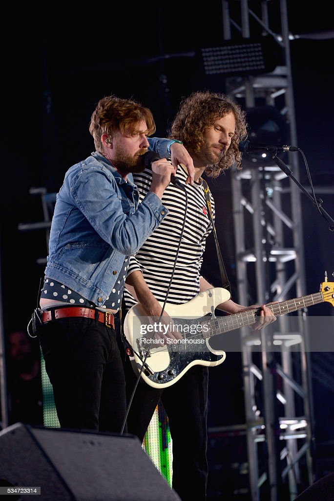 <a gi-track='captionPersonalityLinkClicked' href=/galleries/search?phrase=Ricky+Wilson&family=editorial&specificpeople=206907 ng-click='$event.stopPropagation()'>Ricky Wilson</a> and Simon Rix of the Kaiser Chiefs performs live during 'MTV Crashes Coventry' at Ricoh Arena on May 27, 2016 in Coventry, England.