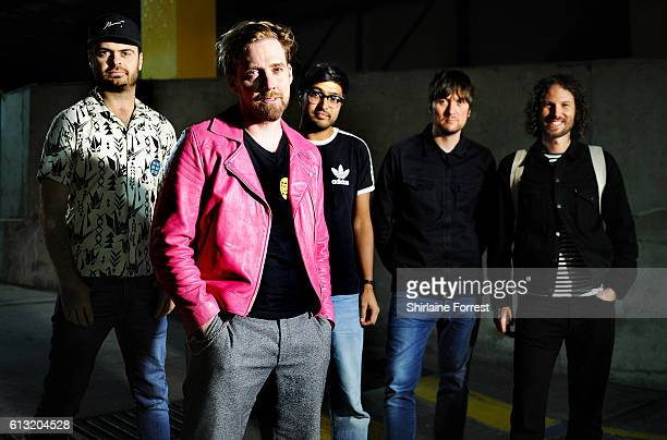 Ricky Wilson Andrew White Simon Rix Nick Baines and Vijay Mistry of Kaiser Chiefs pose backstage after meeting fans and performing songs from their...