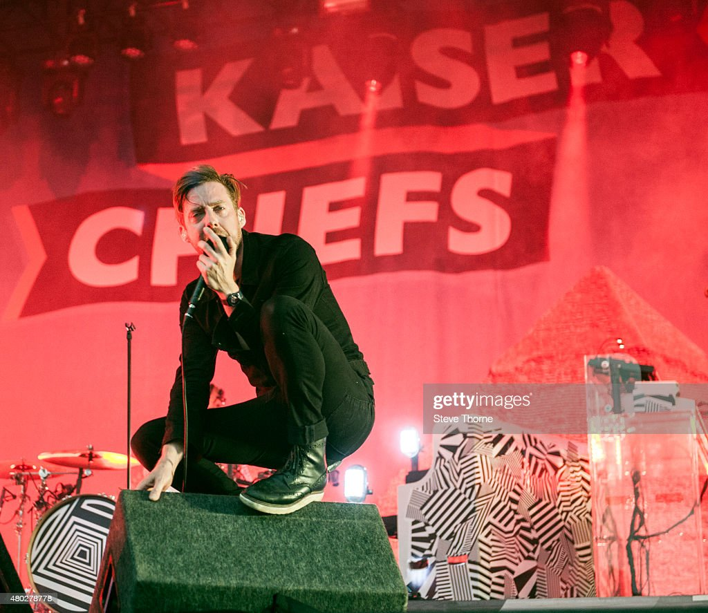 Ricky Wilson of Kaiser Chiefs performs at Warwick Castle on July 10 2015 in Warwick United Kingdom