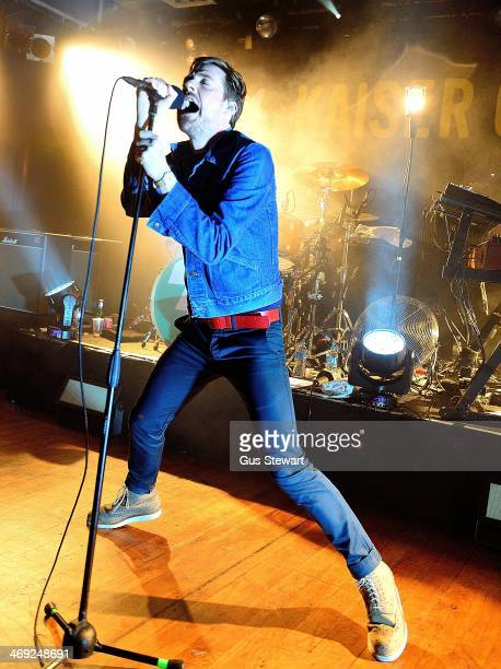 Ricky Wilson of Kaiser Chiefs performs on stage at Scala on February 13 2014 in London United Kingdom