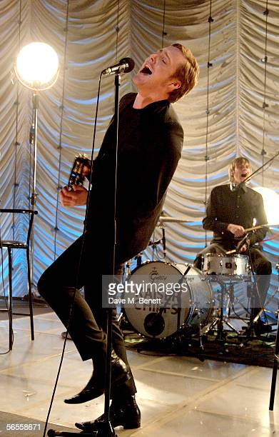 Ricky Wilson of the Kaiser Chiefs performs at the shortlist announcement for The Brit Awards 2006 with Mastercard on January 10 2006 in London...