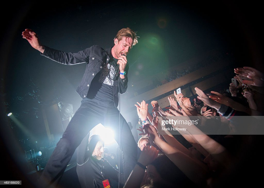Ricky Wilson of The Kaiser Chiefs performs on stage at BIC on February 10 2015 in Bournemouth England