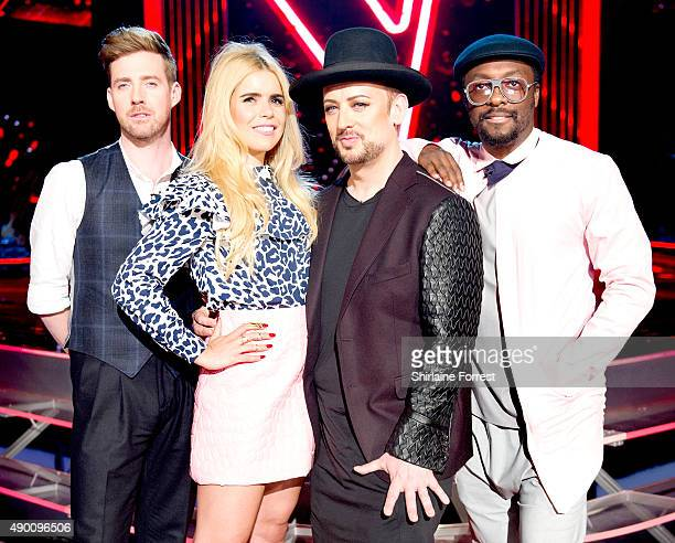 Ricky Wilson Paloma Faith Boy George and William of The Voice UK new Judge line up pose on set on first day of filming for Season 5 at Media City on...