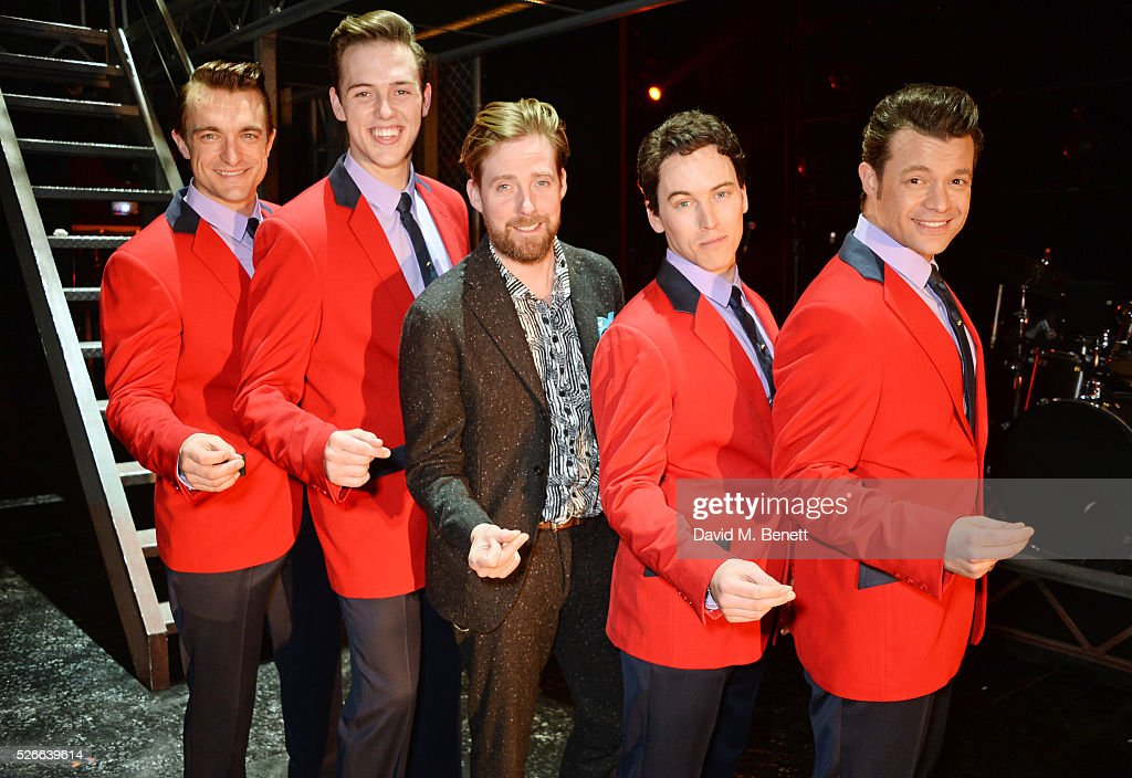 Ricky Wilson (C) poses backstage with cast members (L-R) Matt Hunt, Declan Egan, Matt Corner and Simon Bailey following a performance of 'Jersey Boys' at The Piccadilly Theatre on April 30, 2016 in London, England.