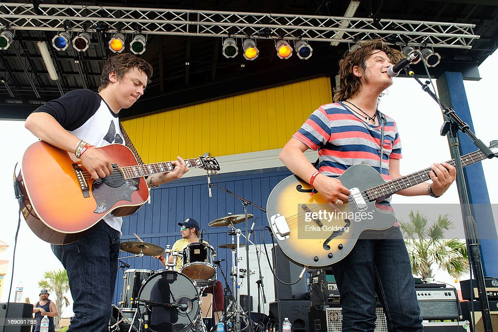 Ricky Young, Ben Jarvis and Joel King of The Wild Feathers perform during the 2013 Hangout Music Festival on May 19, 2013 in Gulf Shores, Alabama.