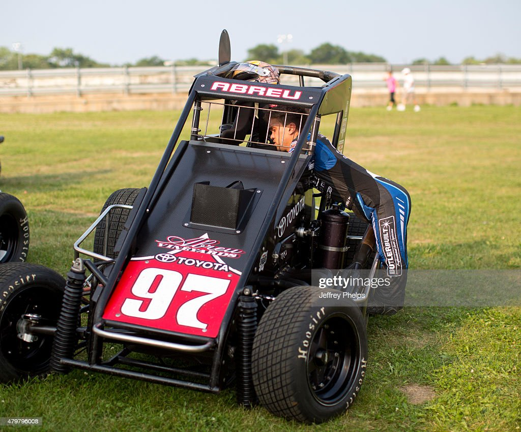 Rico Abreu, driver of the #97 Keith Kunz/Curb-Agajanian Motorsports car gets ready at the Badger Midget series race at Angell Park July 5, 2015 in Sun Prairie, Wisconsin.