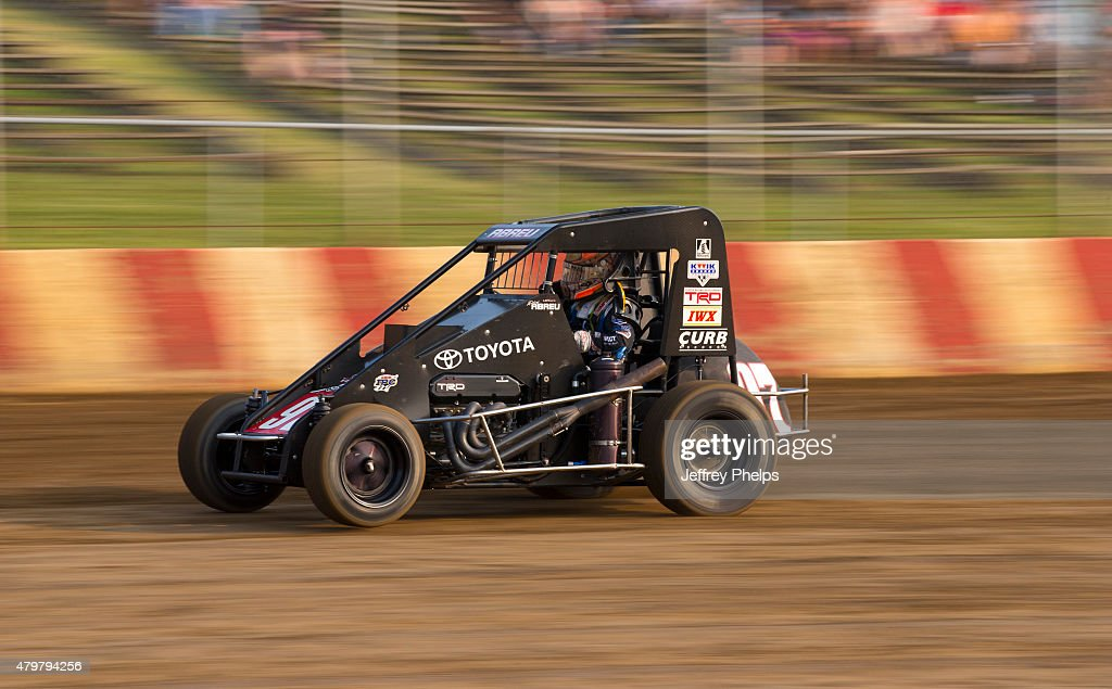 Rico Abreu, driver of the #97 Keith Kunz/Curb-Agajanian Motorsports car practices on the dirt track at the Badger Midget series race at Angell Park July 5, 2015 in Sun Prairie, Wisconsin.