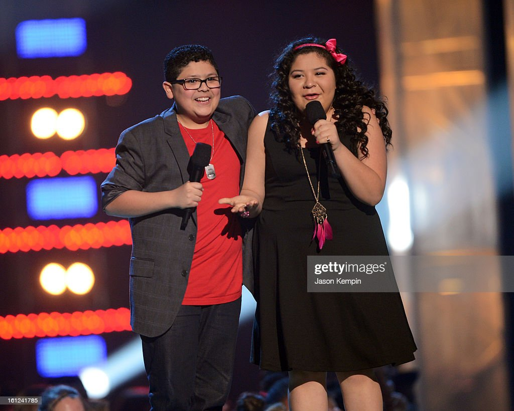 Rico and Raini Rodriguez speak onstage at the Third Annual Hall of Game Awards hosted by Cartoon Network at Barker Hangar on February 9, 2013 in Santa Monica, California. 23270_003_JK_1136.JPG