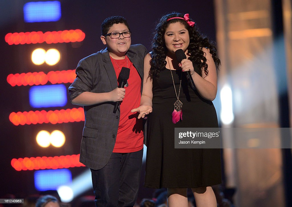 Rico and Raini Rodriquez speak onstage at the Third Annual Hall of Game Awards hosted by Cartoon Network at Barker Hangar on February 9, 2013 in Santa Monica, California. 23270_003_JK_1138.JPG