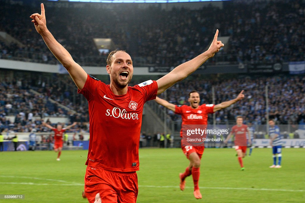 Rico Benatelli of Wuerzburg celebrates after scoring his team's second goal during the 2. Bundesliga playoff leg 2 match between MSV Duisburg and Wuerzburger Kickers at Schauinsland-Reisen-Arena on May 24, 2016 in Duisburg, Germany.