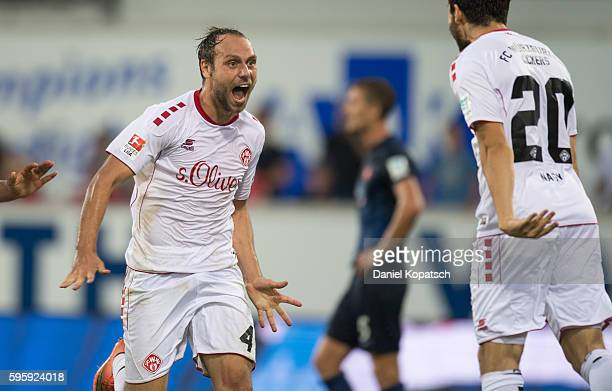 Rico Benatelli of Wuerzburg celebrates his team's second goal during the Second Bundesliga match between 1 FC Heidenheim 1846 and FC Wuerzburger...
