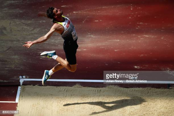 Rico Freimuth of Germany competes in the Men's Decathlon Long Jump during day eight of the 16th IAAF World Athletics Championships London 2017 at The...