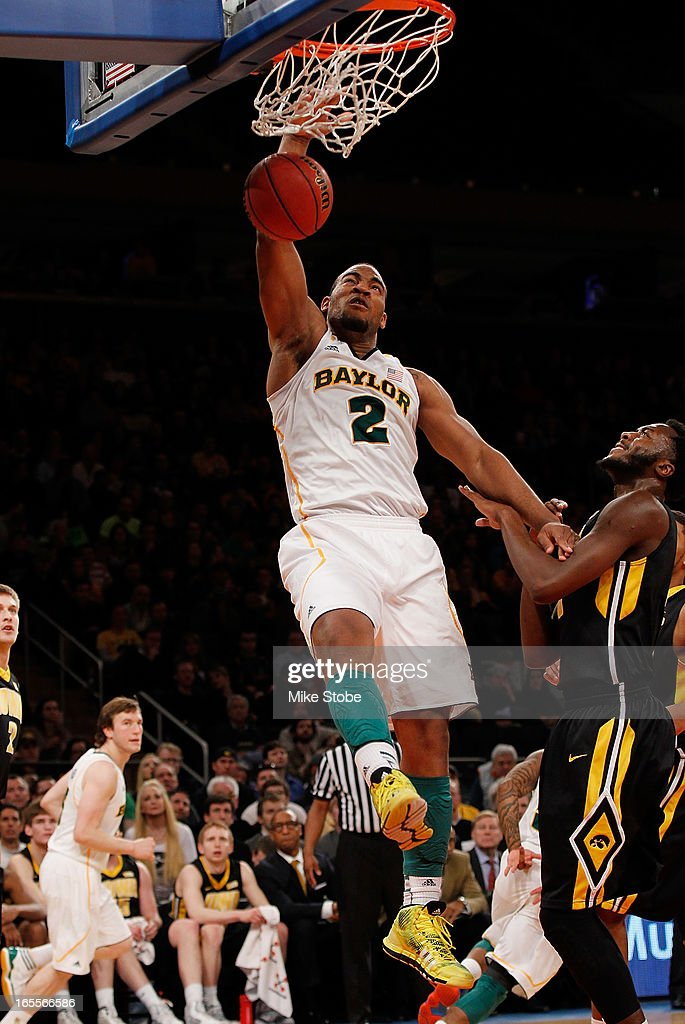 Rico Gathers #2 of the Baylor Bears dunks the ball against the Iowa Hawkeyes during the 2013 NIT Championship at Madison Square Garden on April 4, 2013 in New York City. Baylor defeated Iowa 74-54.