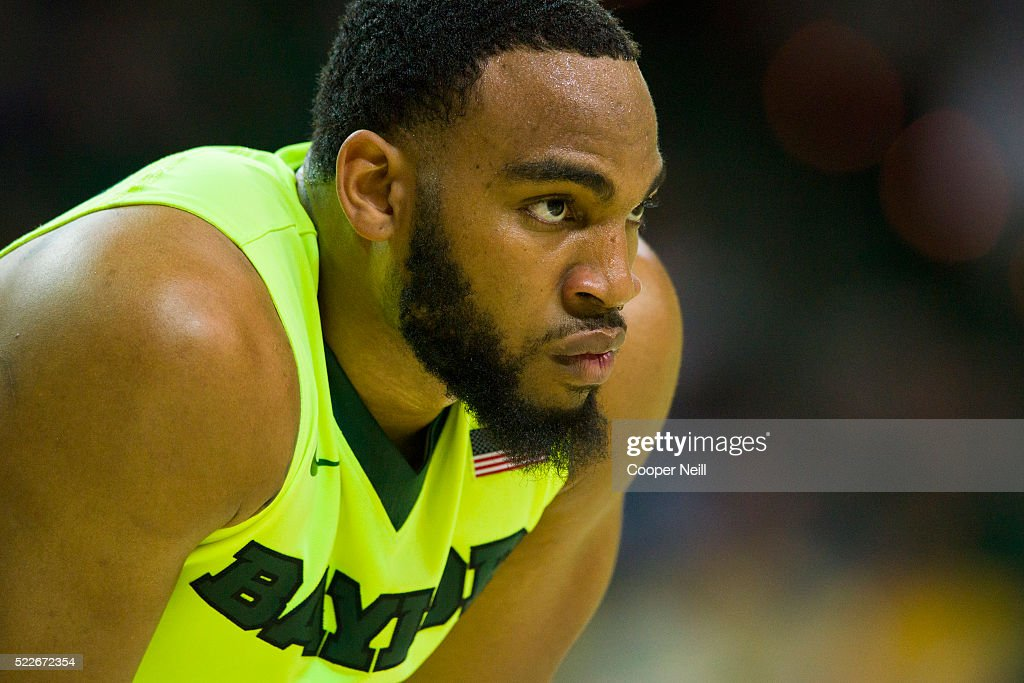 Rico Gathers of the Baylor Bears looks on against the West Virginia Mountaineers on March 5 2016 at the Ferrell Center in Waco Texas