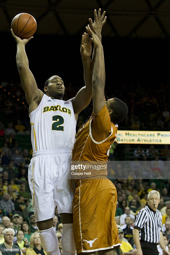 Rico Gathers #2 of the Baylor University Bears shoots the ball against the University of Texas Longhorns on January 5, 2013 at the Ferrell Center in Waco, Texas.