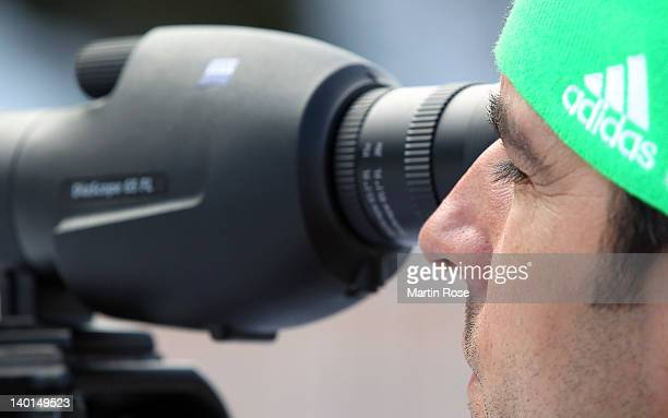 Rico Gross head coach of the German national womens biathlon team looks on during an offical training session at Chiemgau Arena on February 29 2012...