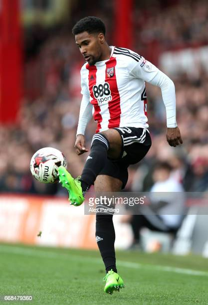 Rico Henry of Brentford controlls the ball during the Sky Bet Championship match between Brentford and Derby County at Griffin Park on April 14 2017...