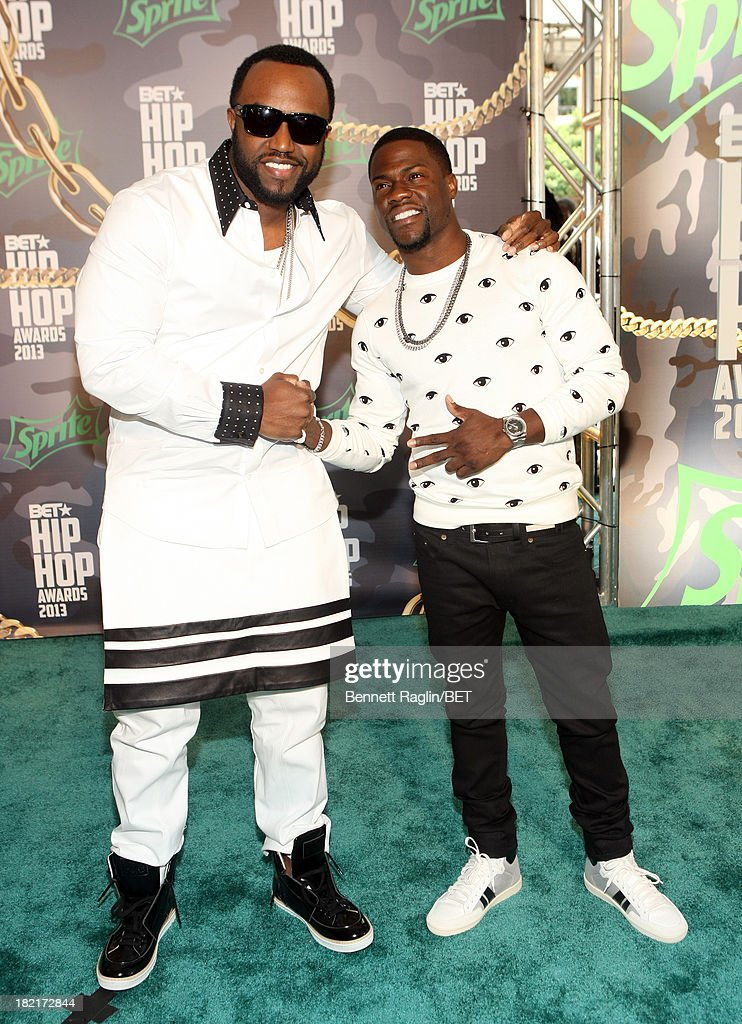 <a gi-track='captionPersonalityLinkClicked' href=/galleries/search?phrase=Rico+Love&family=editorial&specificpeople=691968 ng-click='$event.stopPropagation()'>Rico Love</a> and Kevin Hart attend the BET Hip Hop Awards 2013 at Boisfeuillet Jones Atlanta Civic Center on September 28, 2013 in Atlanta, Georgia.