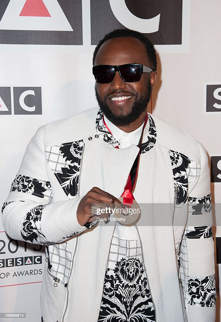 <a gi-track='captionPersonalityLinkClicked' href=/galleries/search?phrase=Rico+Love&family=editorial&specificpeople=691968 ng-click='$event.stopPropagation()'>Rico Love</a> attends 2013 SESAC Pop Music Awards at New York Public Library on May 13, 2013 in New York City.