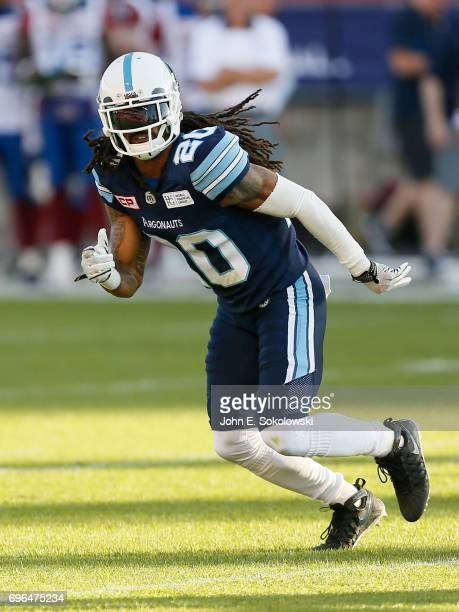 Rico Murray of the Toronto Argonauts drops into coverage against the Montreal Alouettes during a CFL preseason game at BMO field on June 8 2017 in...