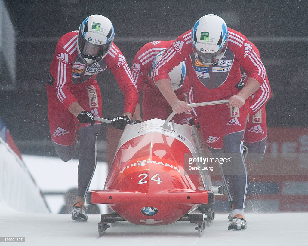Rico Peter, Owen Taylor, Thomas Ruf and Simon Friedli of Switzerland 1 compete in the four-man bobsleigh on day 2 of the IBSF 2012 Bobsleigh and Skeleton World Cup on November 24, 2012 at the Whistler Sliding Centre in Whistler, British Columbia, Canada.