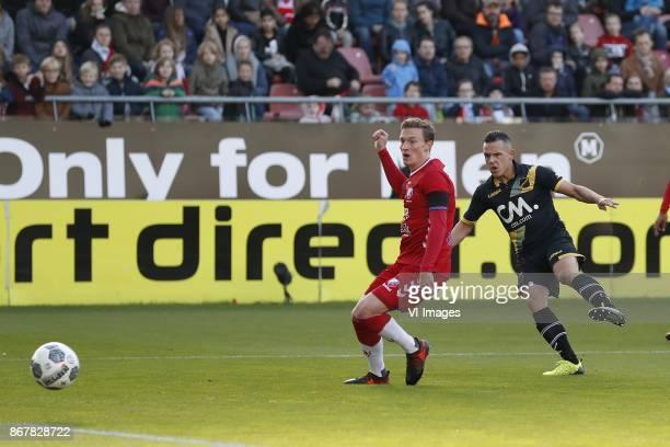 Rico Strieder of FC Utrecht Giovanni Korte of NAC Breda during the Dutch Eredivisie match between FC Utrecht and NAC Breda at the Galgenwaard Stadium...