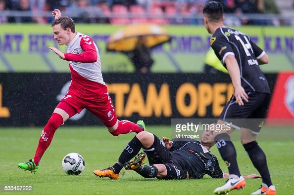 Rico Strieder of FC Utrecht Illias Bel Hassani of Heracles Almelo Joey Pelupessy of Heracles Almelo during the Europa League Playoffs return match...