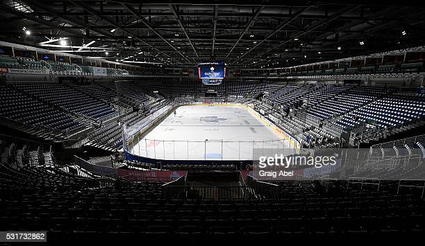 Ricoh Coliseum is prepared for game 6 against the Toronto Marlies and Albany Devils prior to AHL playoff game action May 14 2016 at Ricoh Coliseum in...